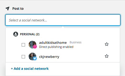 Window to select which social media profiles to post to