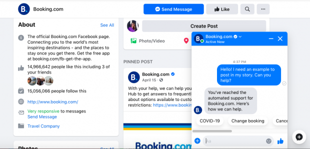 Booking.com chatbot response on Facebook page