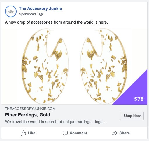 example of a facebook ad with a price label