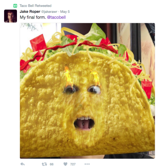Snapchat lens by Taco Bell