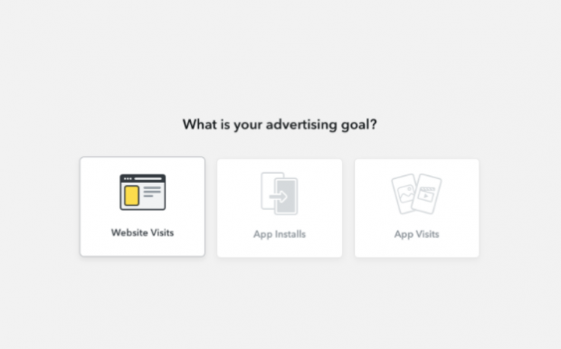 What is your advertising goal? page on Snapchat ads