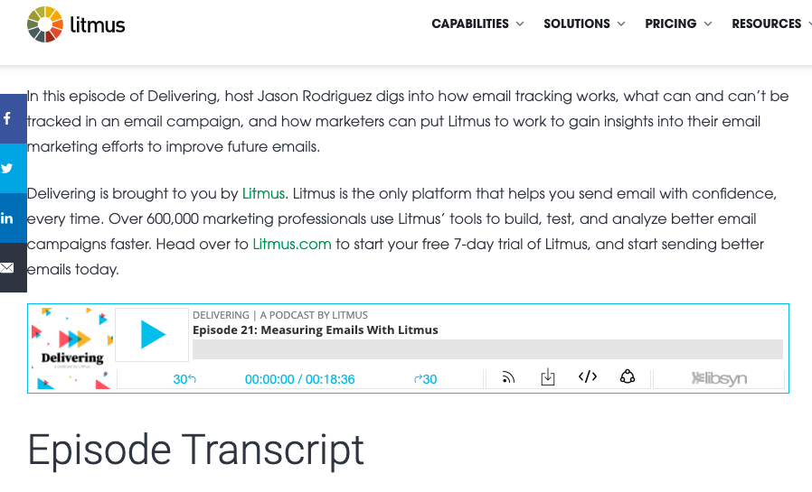 Litmus transcription of a podcast episode as an example of long-form writing.