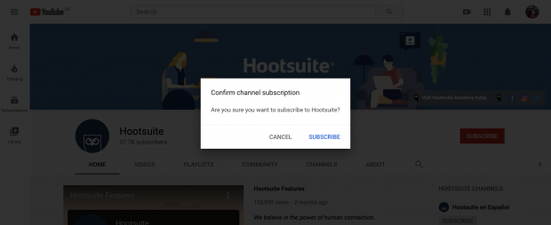 Confirm channel subscription button on YouTube