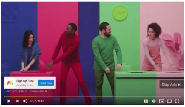 Youtube ad by Monday.com
