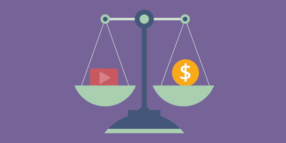 illustration of a scale holding the YouTube play button and a dollar sign