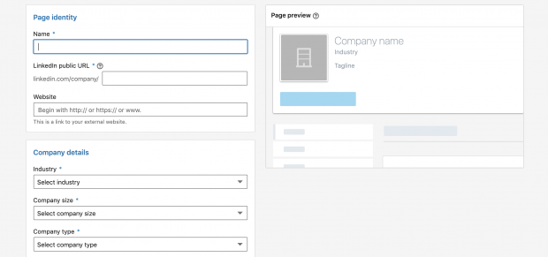 Fill in details of LinkedIn company page
