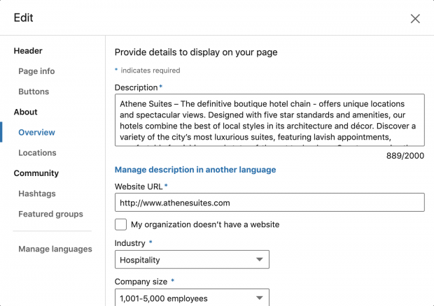 Adding more details to LinkedIn Page
