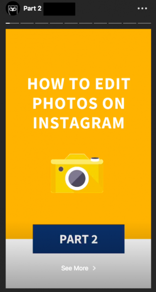 Alternate version of the Instagram Stories template that Hootsuite uses