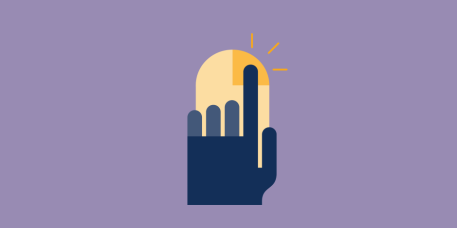 Illustration of a hand clicking a mouse to quickly schedule an Instagram Story