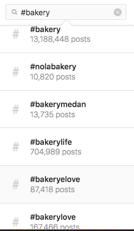 Screenshot showing how to find and search trending hashtags on Instagram