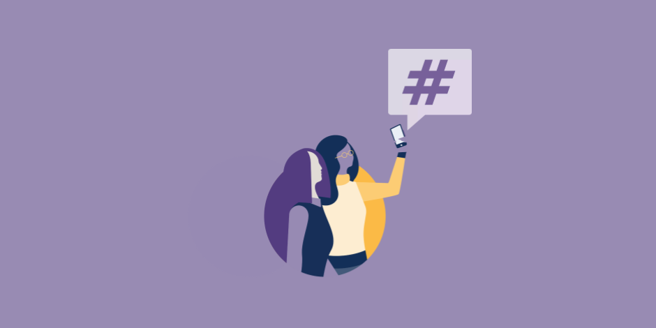Illustration of two women taking a selfie with an Instagram hashtag icon floating above them