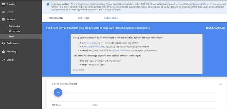 choose feed rules option in google merchant center