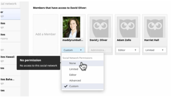 """Marking a team member with """"no permissions"""" in Hootsuite"""