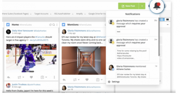 Notification for a social media post that needs approval in the Hootsuite dashboard