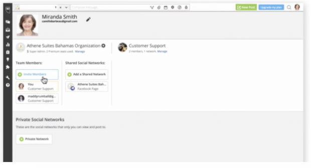 Inviting new team members in Hootsuite dashboard