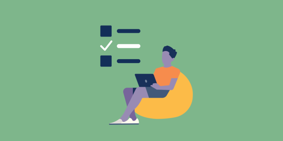 illustration of a checklist with one checkmark, plus a young man working on his laptop
