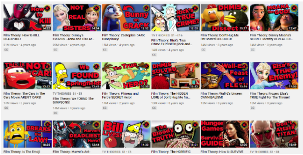 series of thumbnail images for youtube videos by The Film Theorists