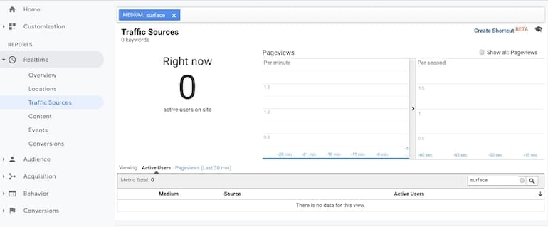 google analytics realtime traffic sources view