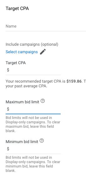 target cpa settings in google ads