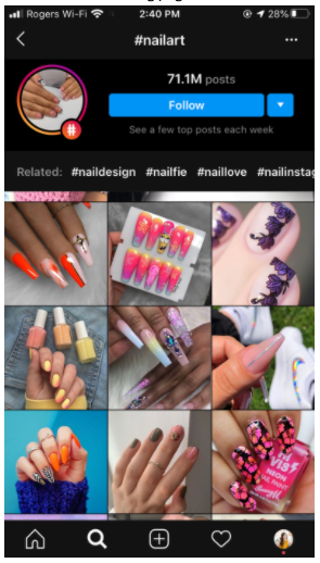instagram hashtag page for #nailart