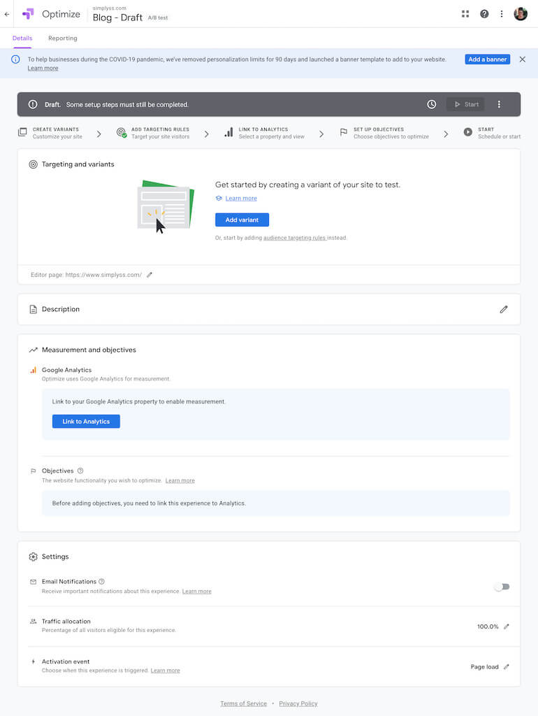 details page of google optimize