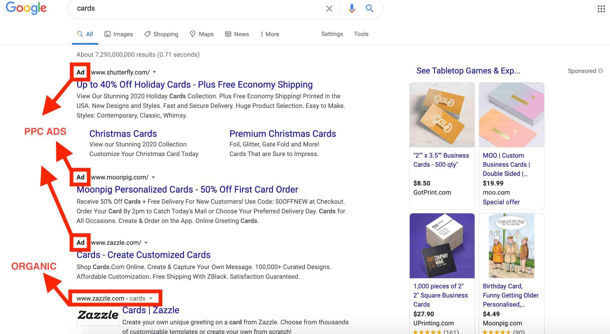 example of paid vs organic ads