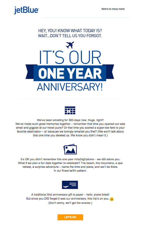"""JetBlue email that reads """"it's our one year anniversary. we've been emailing for 365 days now"""" below, it reads """"it's OK you didn't remember this one-year mile(high)stone"""" and """"a traditional first anniversary gift is paper - hello plane ticket! but since you did forget it was our anniversary, this trip's on you"""""""