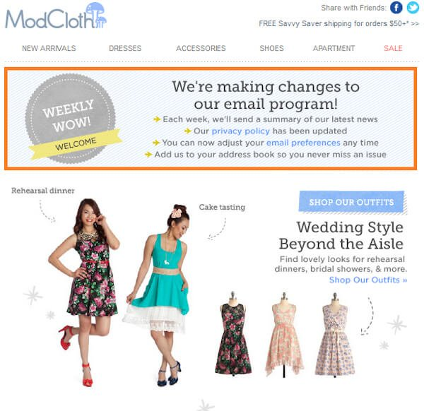 """modcloth email that reads """"we're making changes to our email program"""" with the option to change email preferences and promotional material underneath"""