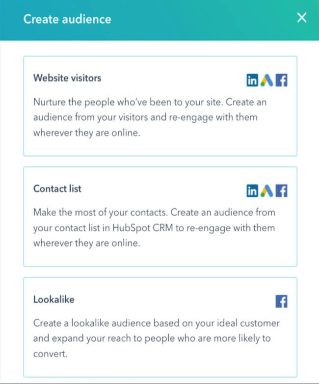 create linkedin audiences from hubspot lists