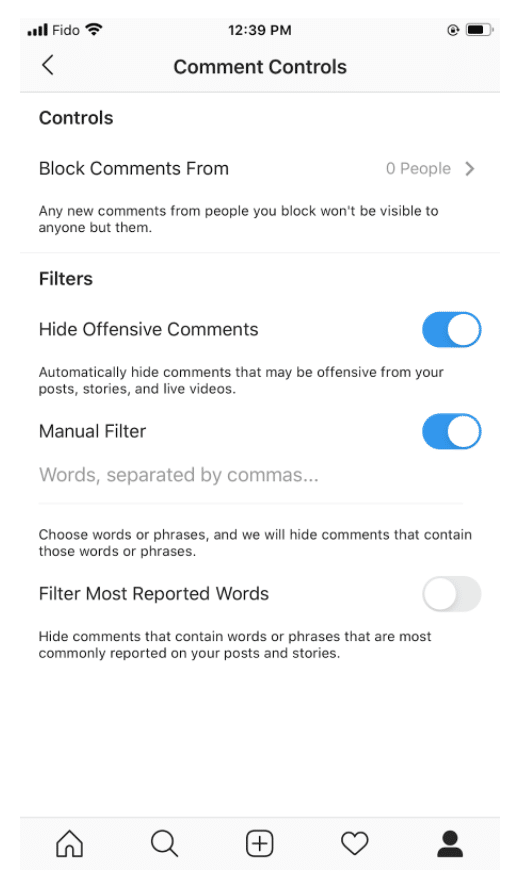 Instagram comment controls