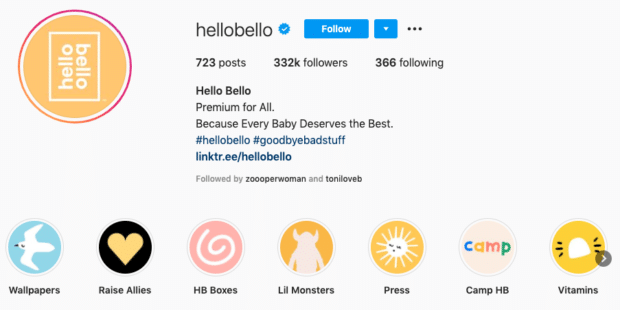 Screenshot of Hello Bello's Instagram page with highlight icons