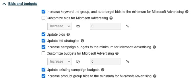 transfer google ads to microsoft ads bids and budget settings