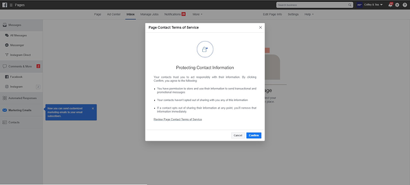 Facebook email marketing tool rules
