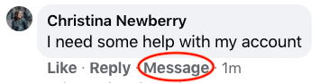 Facebook Message button for private conversation