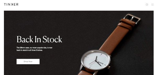 tinker minimalist web design with product photo and simple tagline