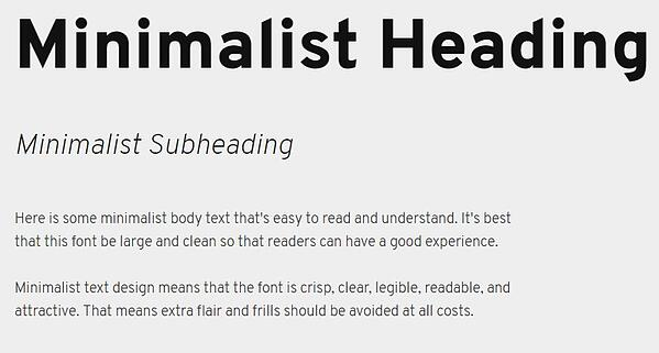 minimalist text design with heading, subheading, and body font in overpass