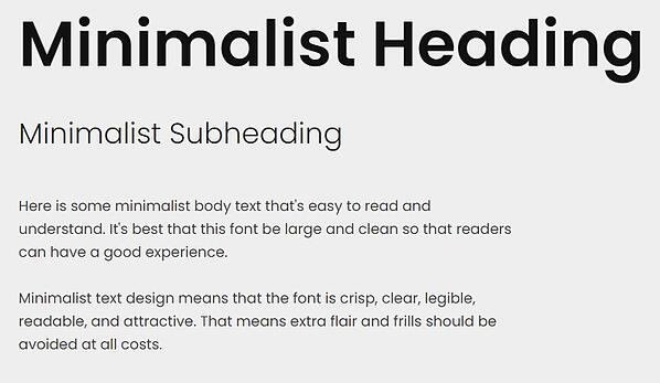 minimalist text design with heading, subheading, and body font in poppins