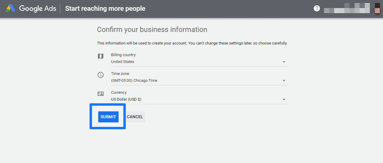 Google Ads account confirm business information