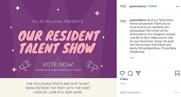 """1 like 1 vote instagram contest by pulse millenia: """"All our talent show entries are posted. Make sure to vote for your favorite by liking the post! feel free to share with friends and family!"""""""