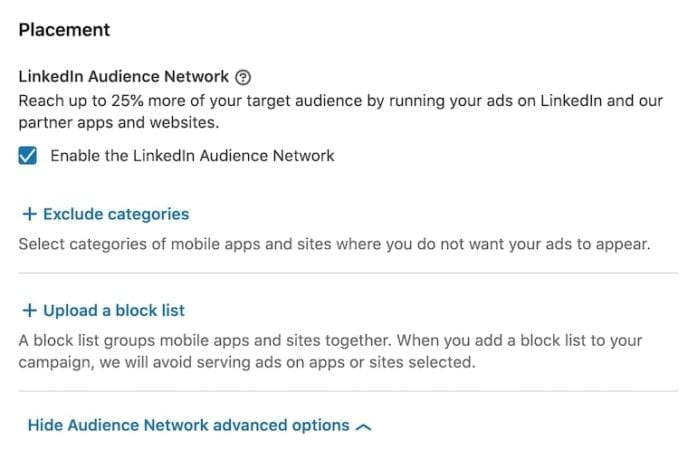 linkedin ad placement options