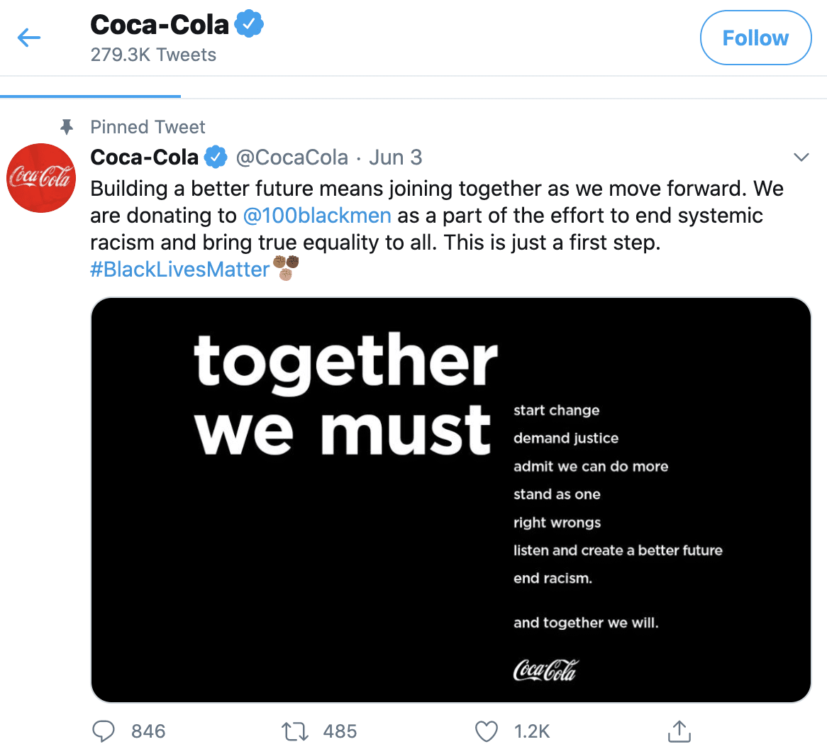 Coca Cola participating in Black Lives Matter movement