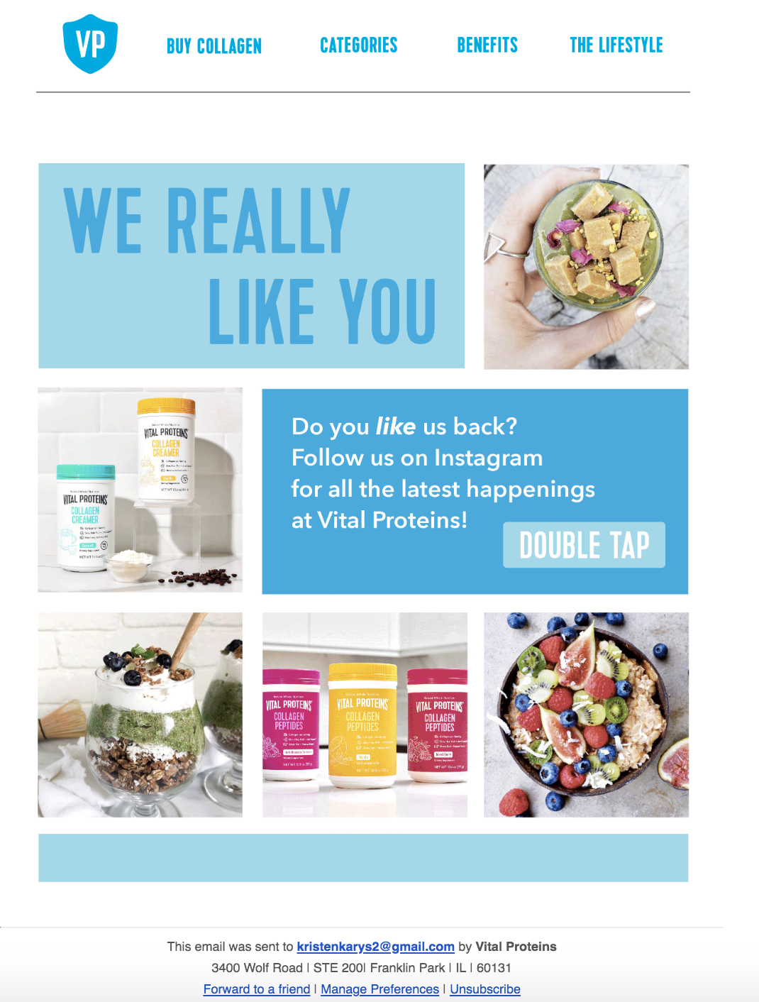vital proteins example of email design