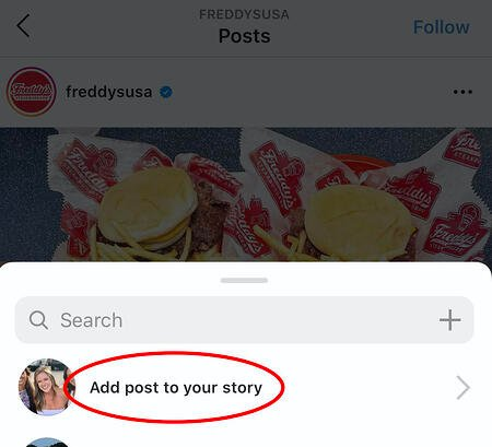 adding someone's post to my instagram story