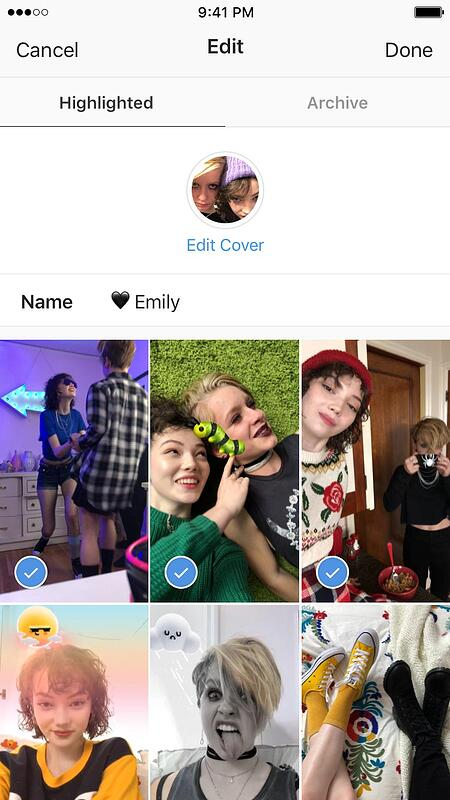 Instagram Stories Highlights are highlighted from this page of past pictures