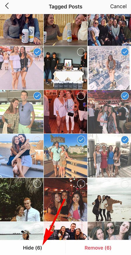 someone's list of photos they've been tagged in