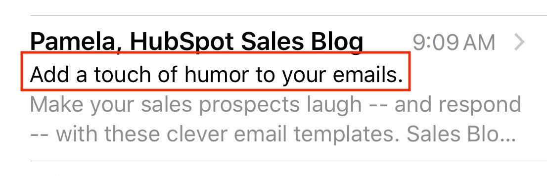 Email subject line example  from email on mobile