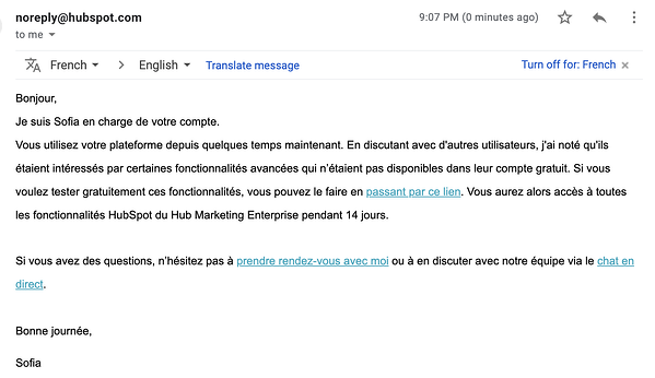 onboarding emails increase qualified leads hubspot french market