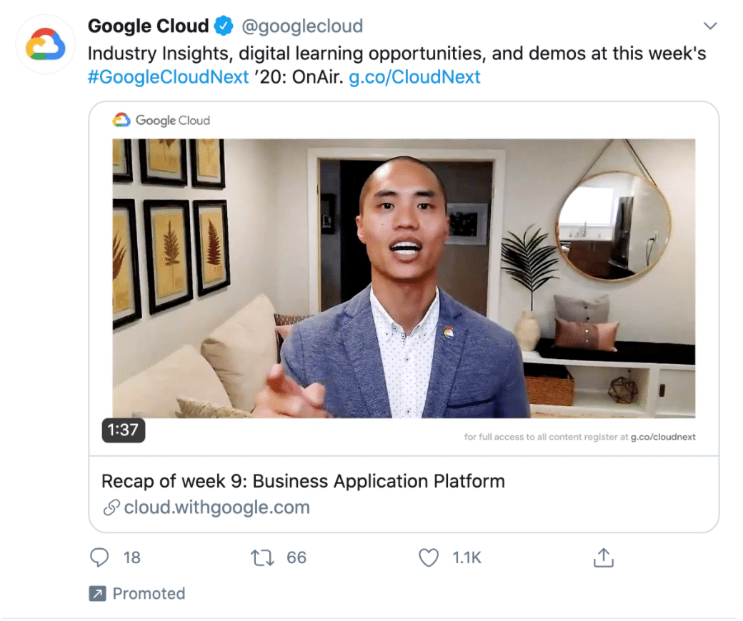 Google Cloud Promoted Tweet Twitter metrics