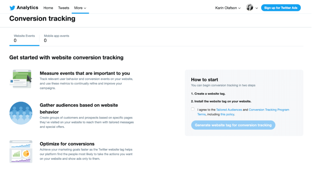 Twitter analytics conversion tracking