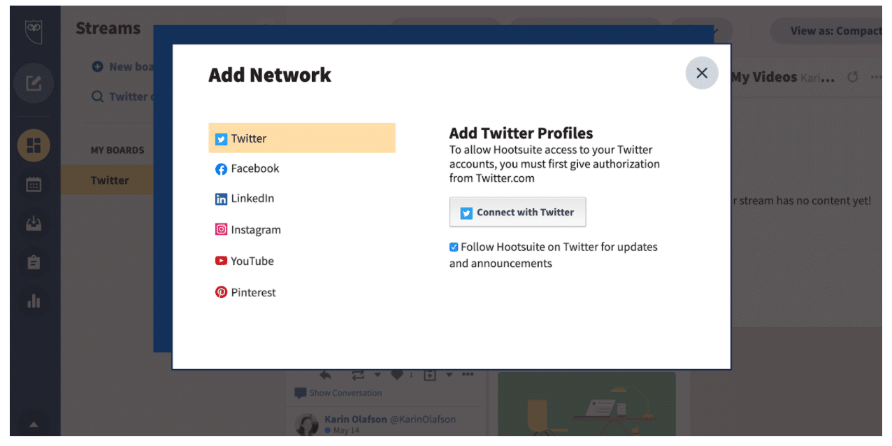 Add Network Hootsuite Dashboard